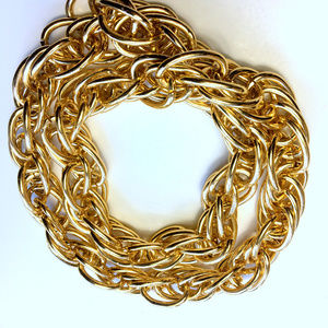XL Thick Heavy Chain Link Gold Tone Necklace
